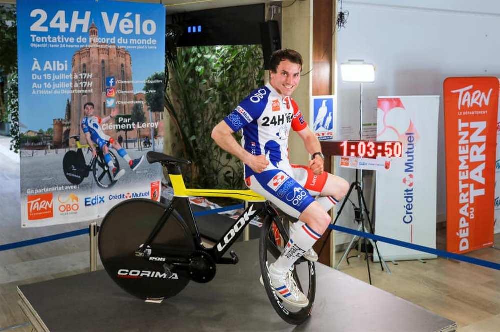 Tarn. 24 heures sans bouger sur un vélo : le défi de Clément Leroy cfacebook/dr
